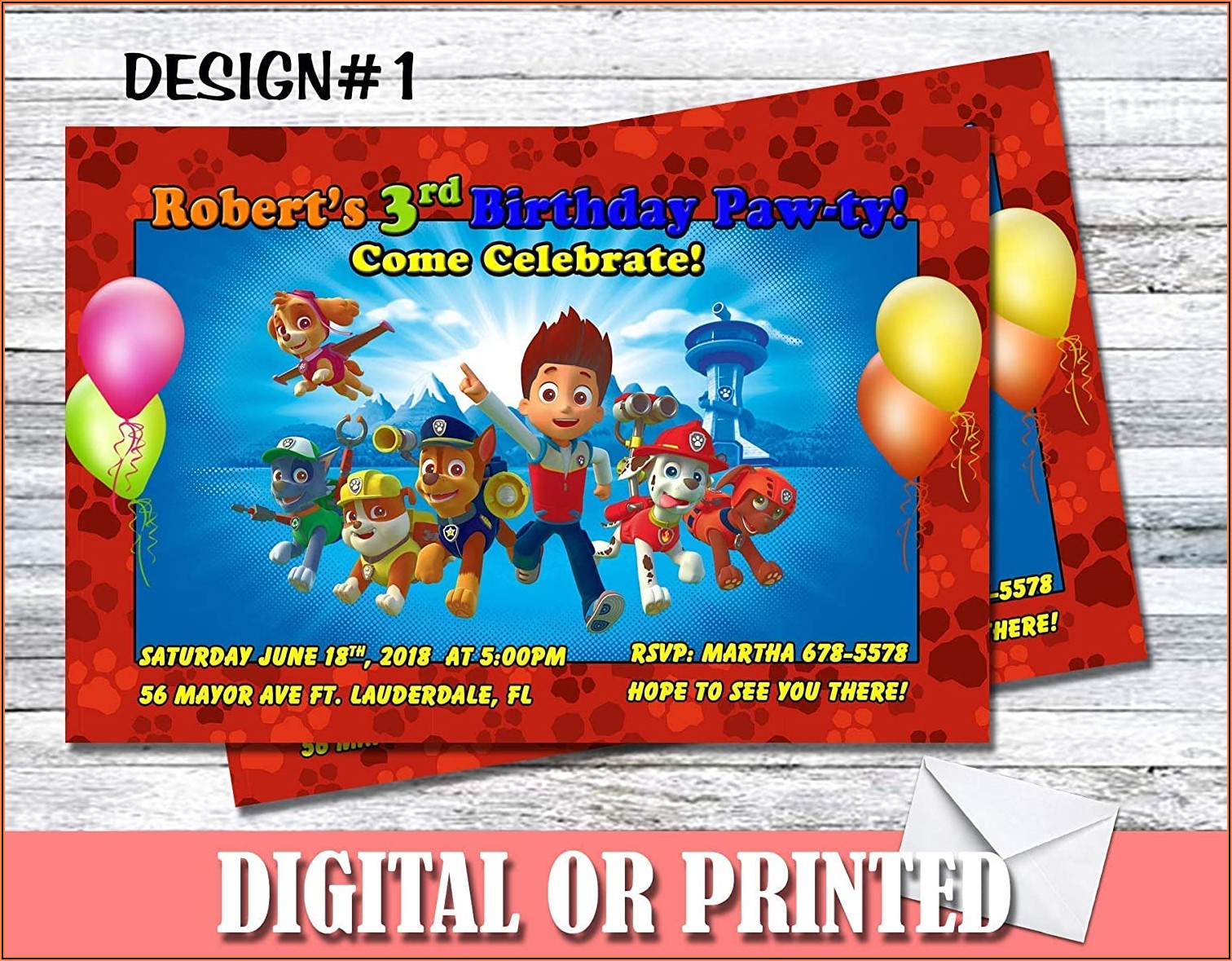 Paw Patrol Birthday Invitations Custom