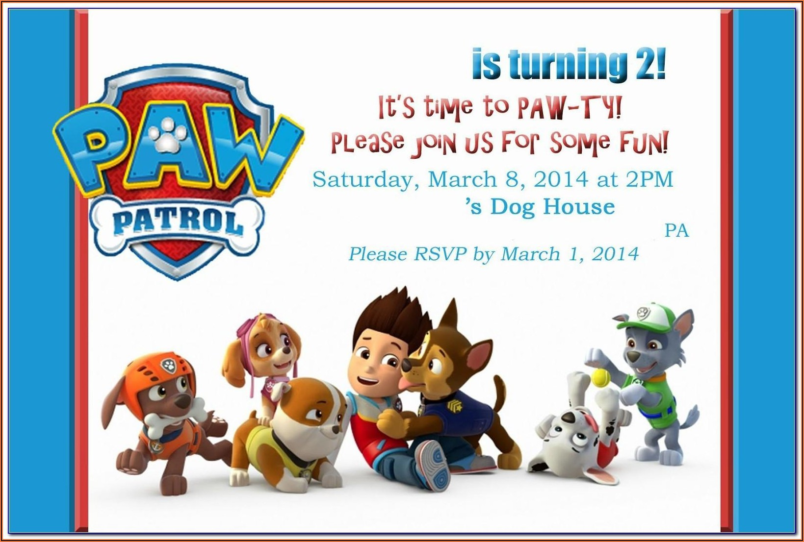 Paw Patrol Birthday Invitations Editable