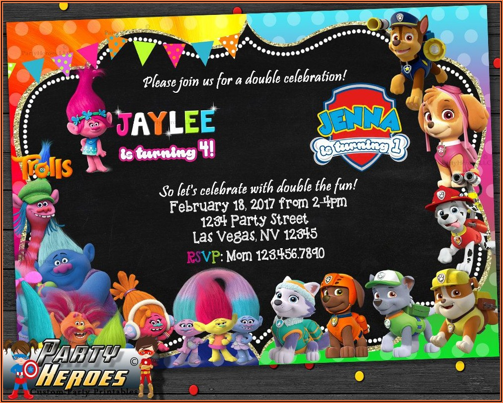 Paw Patrol Birthday Invitations Etsy