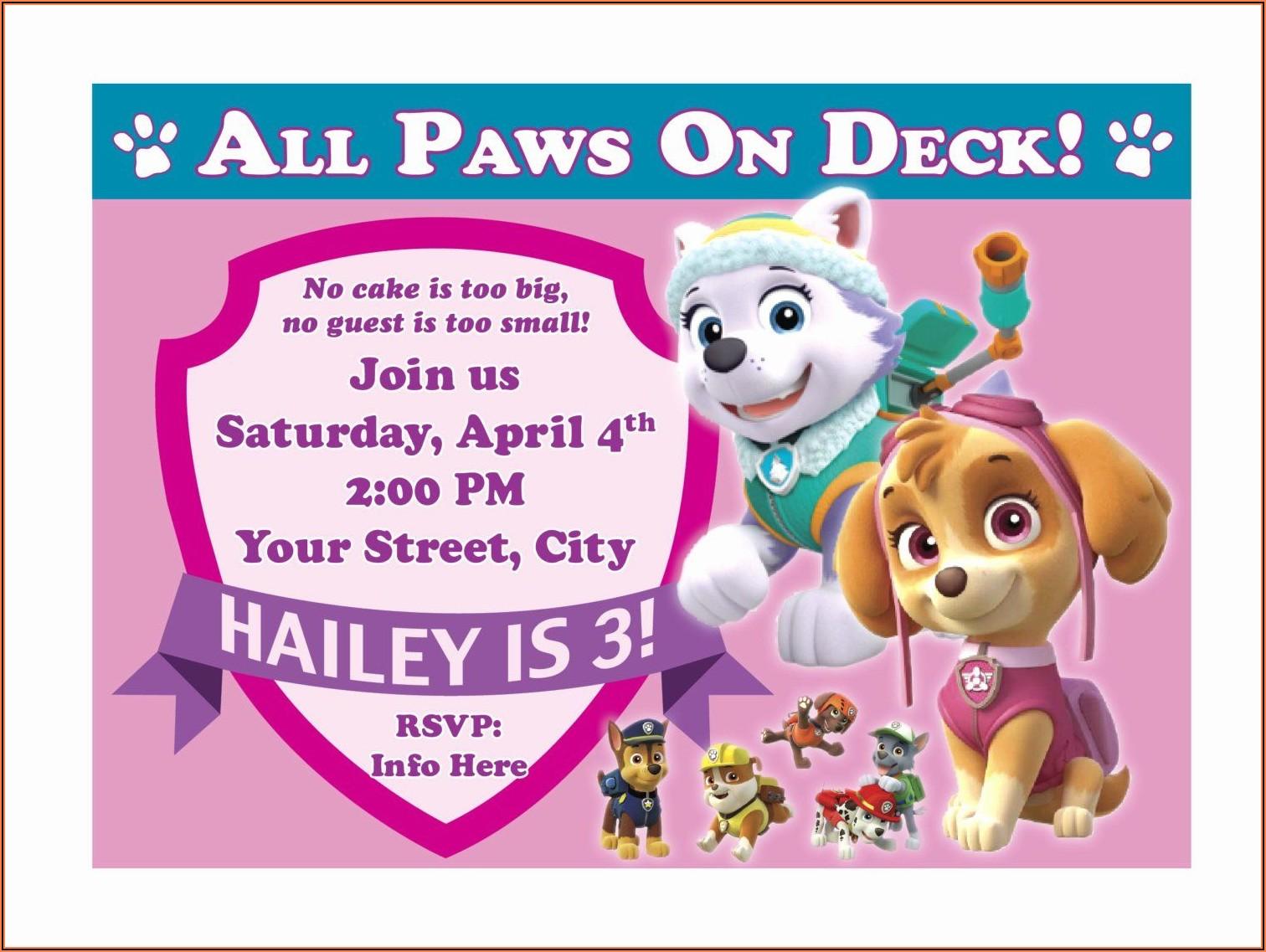 Paw Patrol Birthday Invitations Free Printable