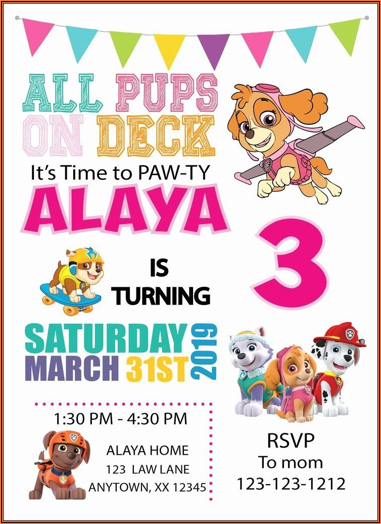 Paw Patrol Birthday Invitations Girl