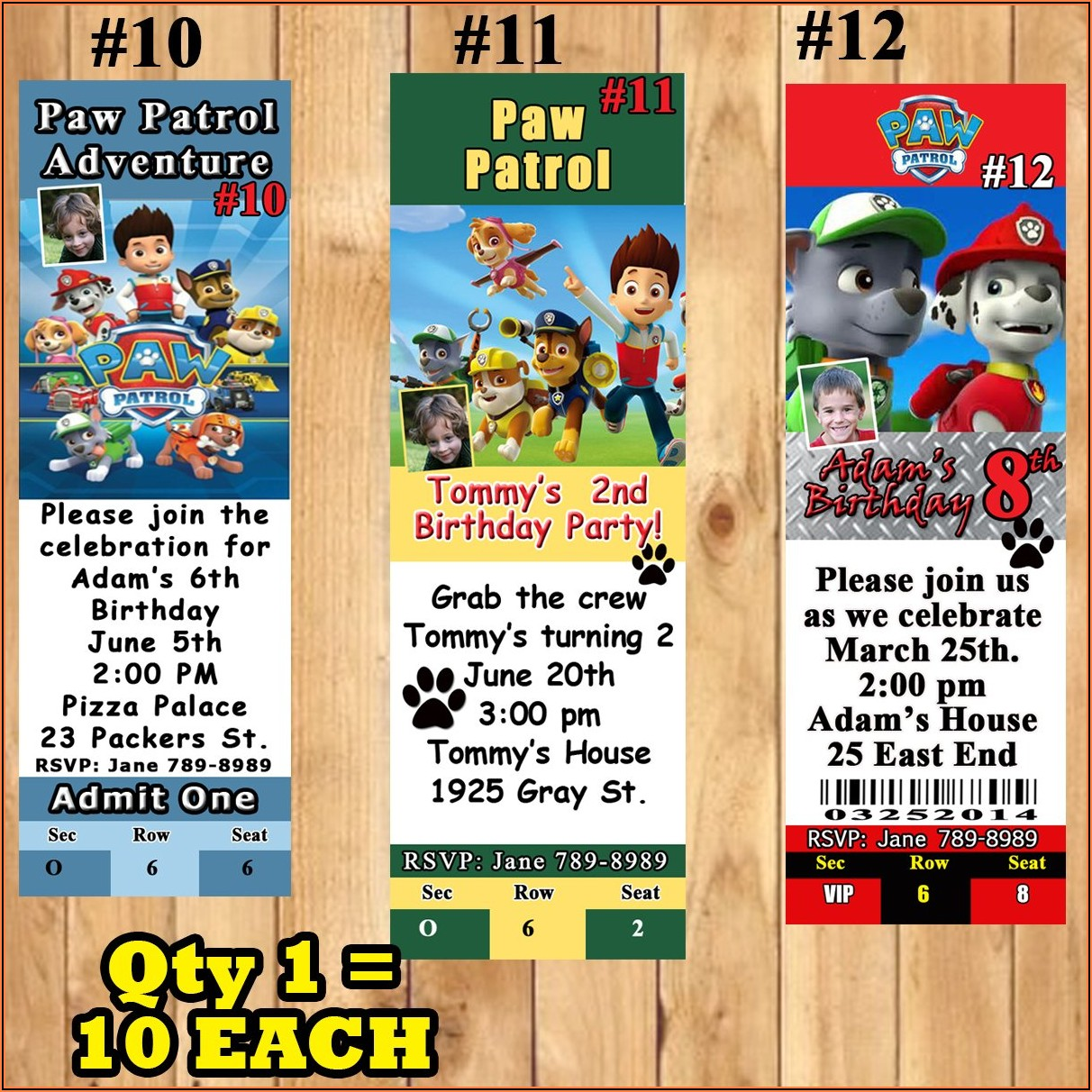 Paw Patrol Birthday Invitations Personalized