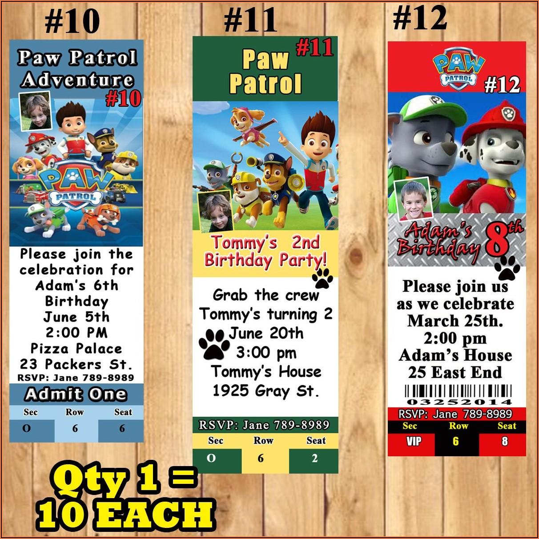 Paw Patrol Birthday Invitations Personalized