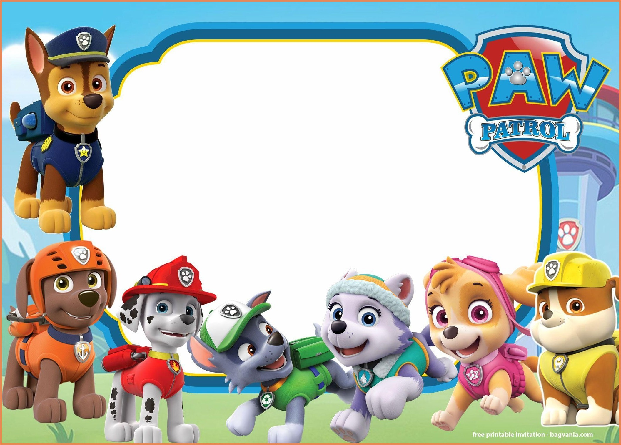 Paw Patrol Birthday Invitations Template