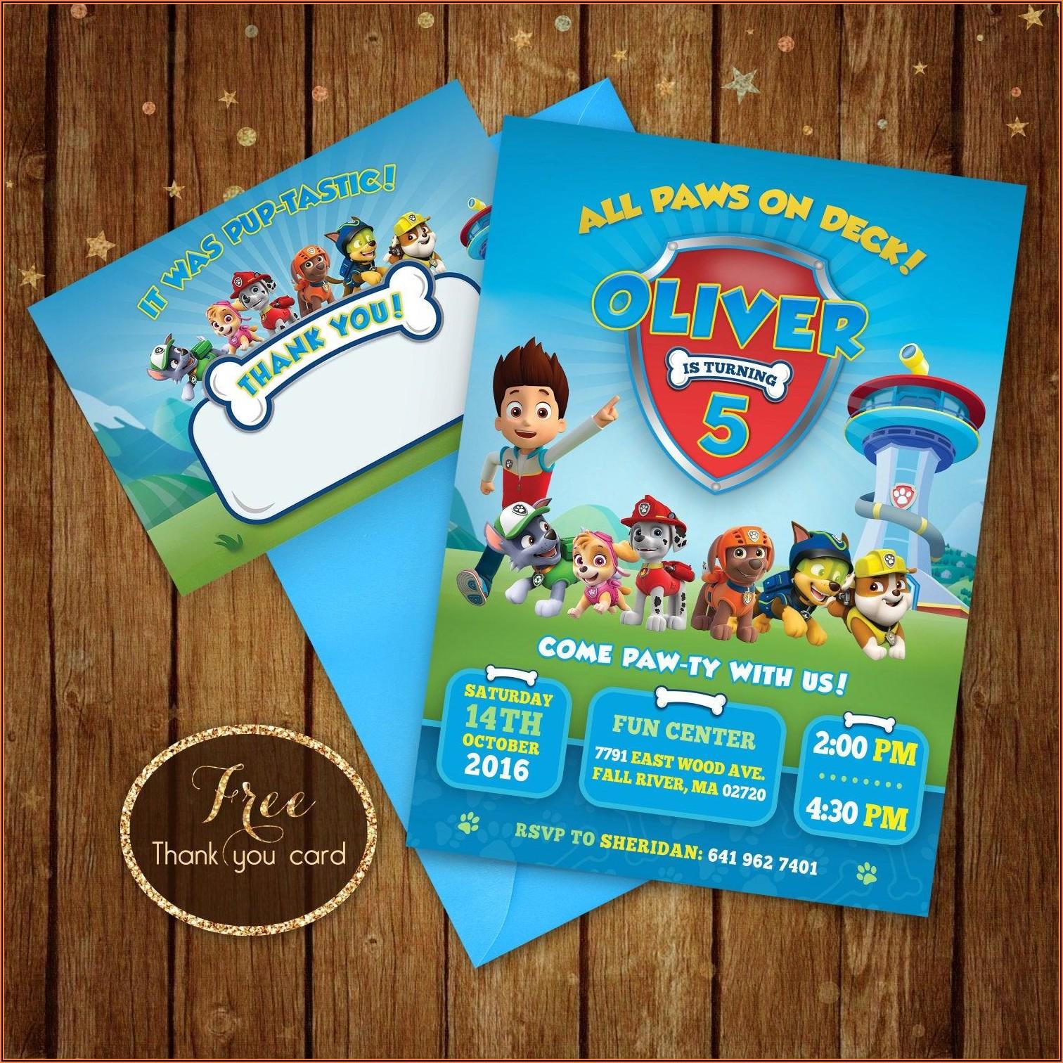 Paw Patrol Boy Birthday Invitations Free Printable