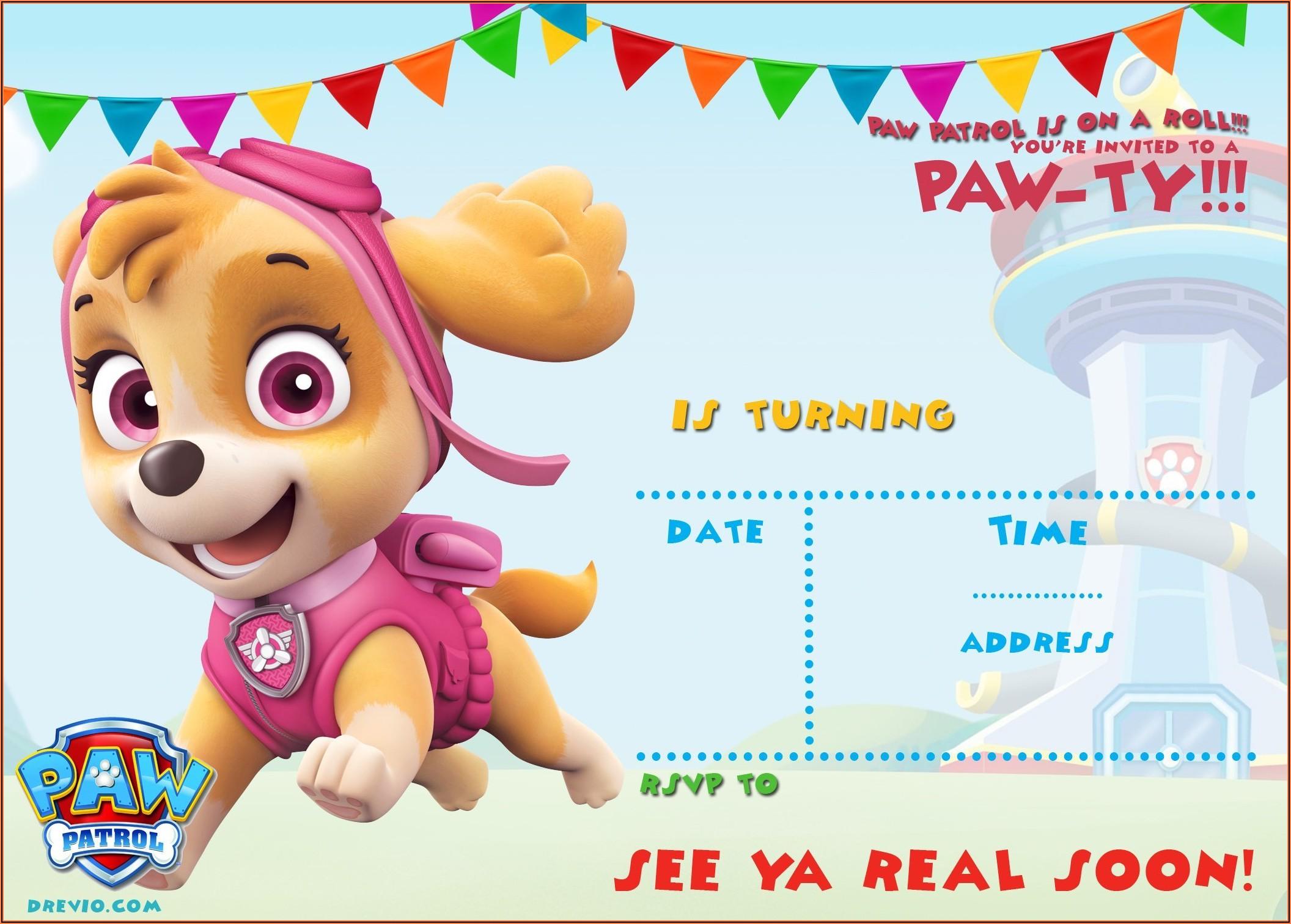Paw Patrol Girl Birthday Invitations Free Printable