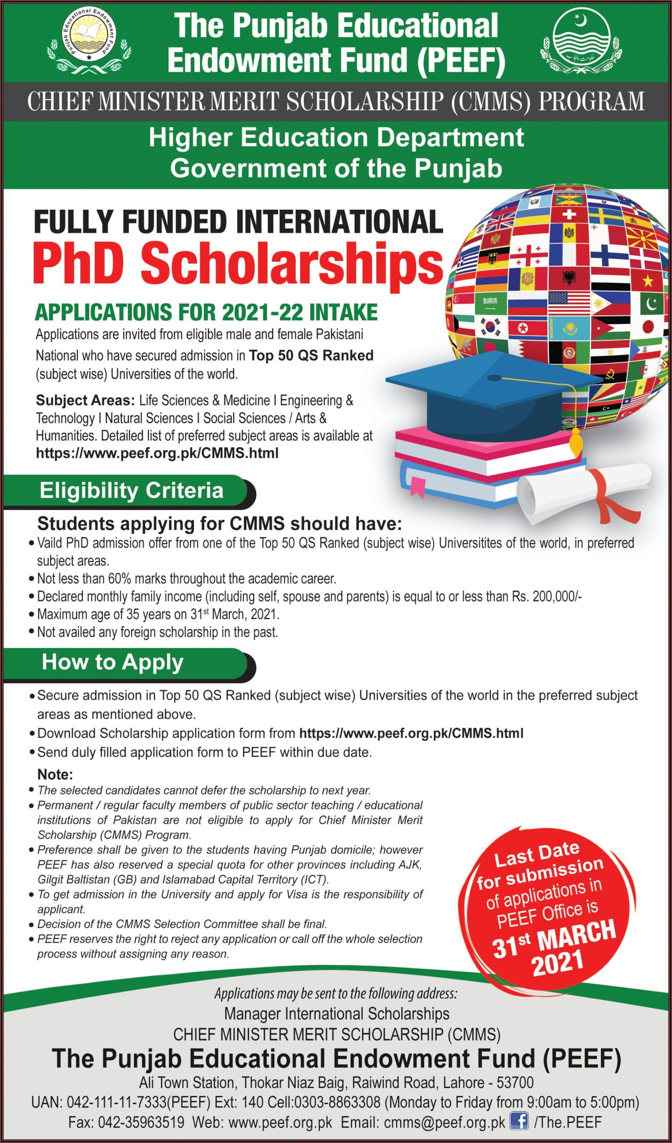 Peef Scholarship Form 2020 For Master Level
