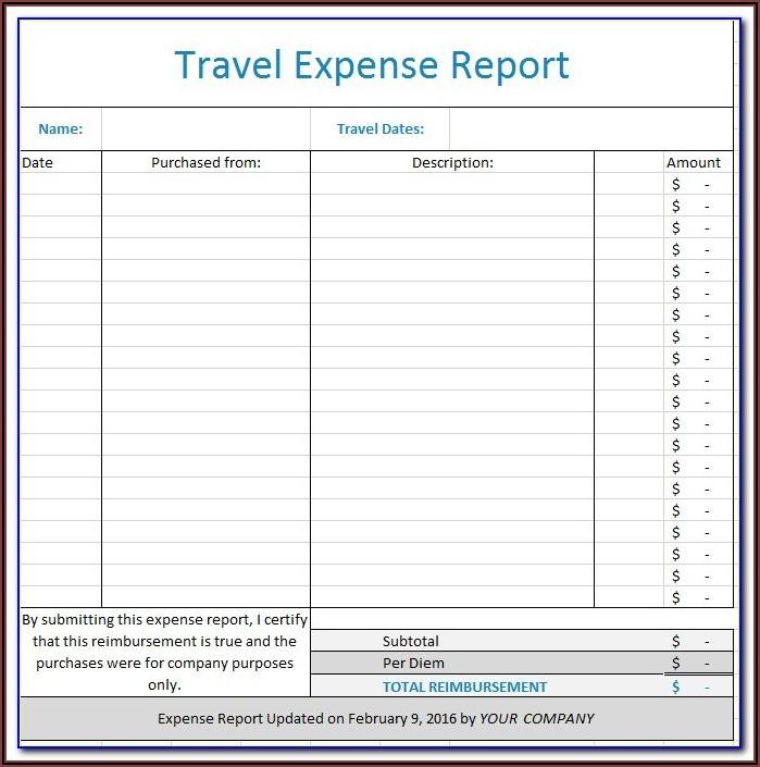 Per Diem Expense Report Example