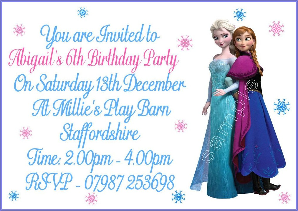 Personalised Frozen Birthday Invitations