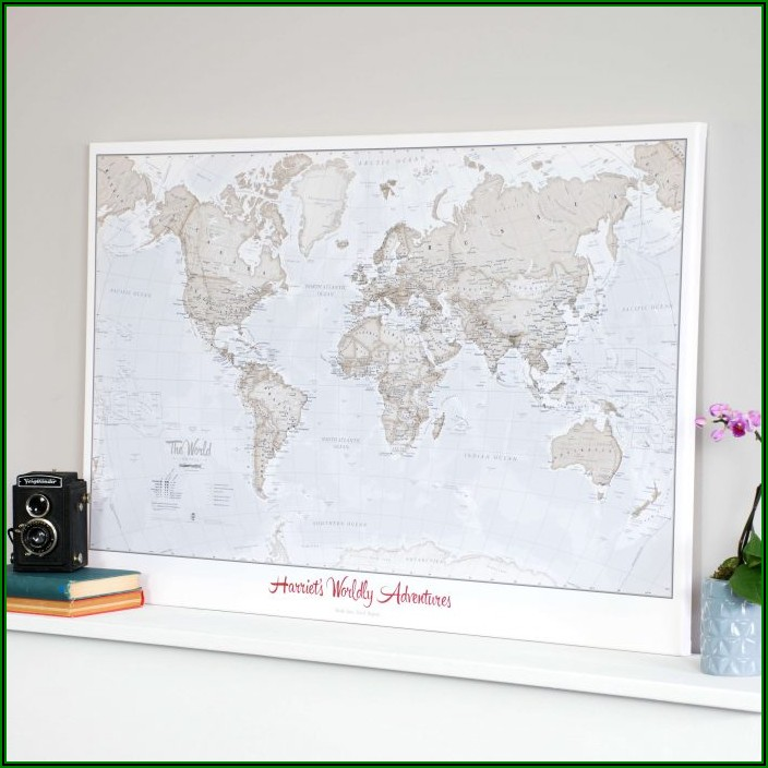 Personalised Travel World Map Pin Cork Board
