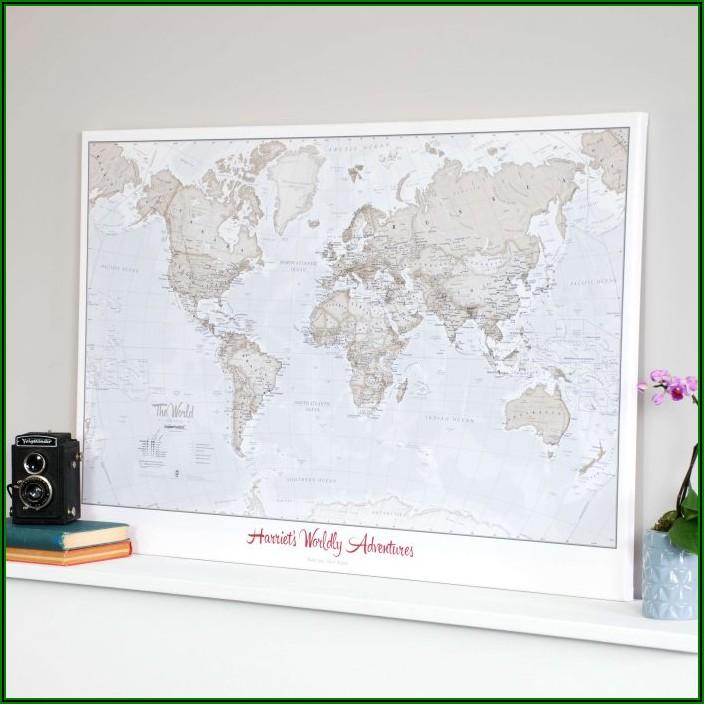 Personalised Travel World Map Pin Cork Board