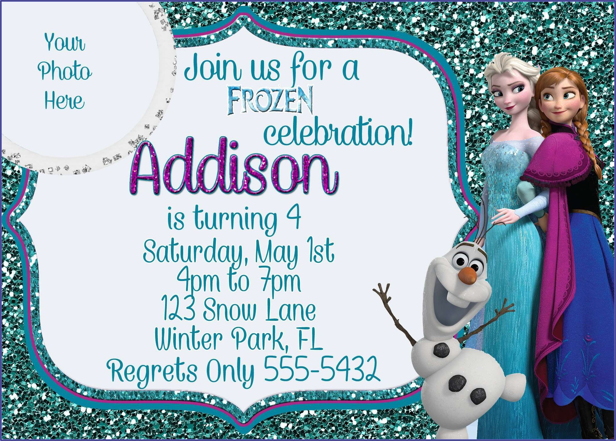 Personalized Frozen Birthday Invitations Free