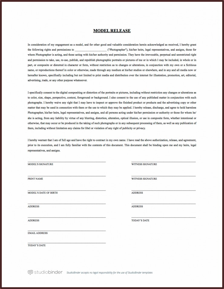 Photo Print Release Form Template Free