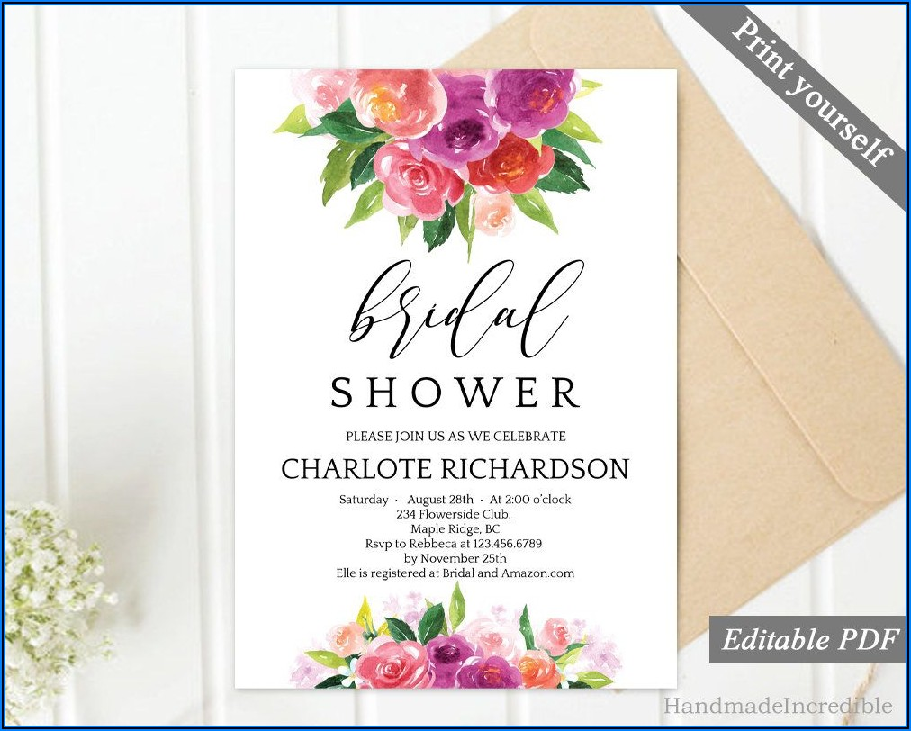 Pink Floral Bridal Shower Invitations