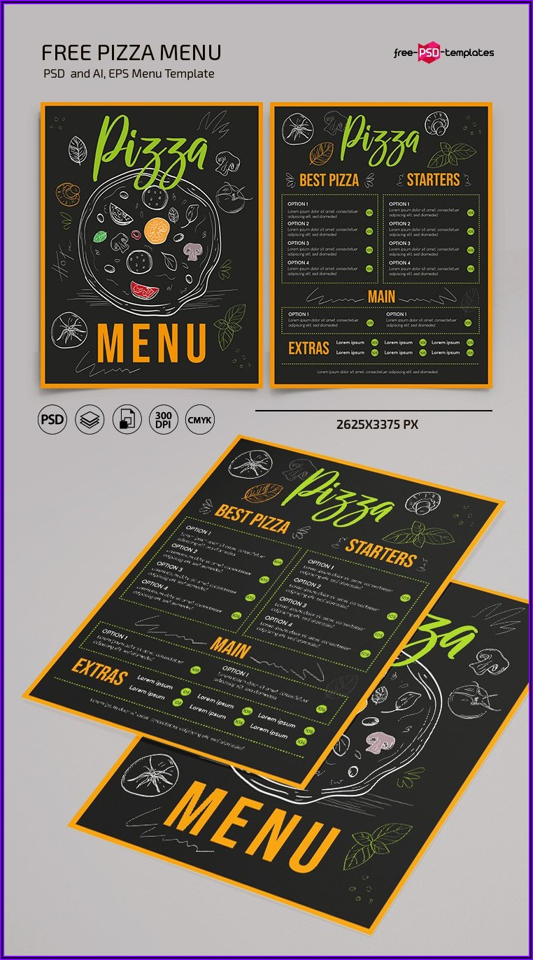 Pizza Menu Template Psd