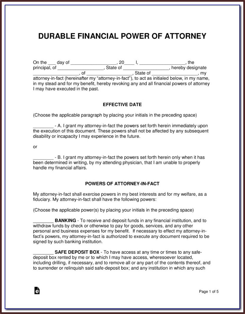 Power Of Attorney Form Nj Medical