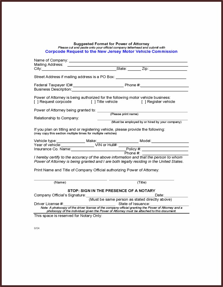 Power Of Attorney Form Nj Mvc
