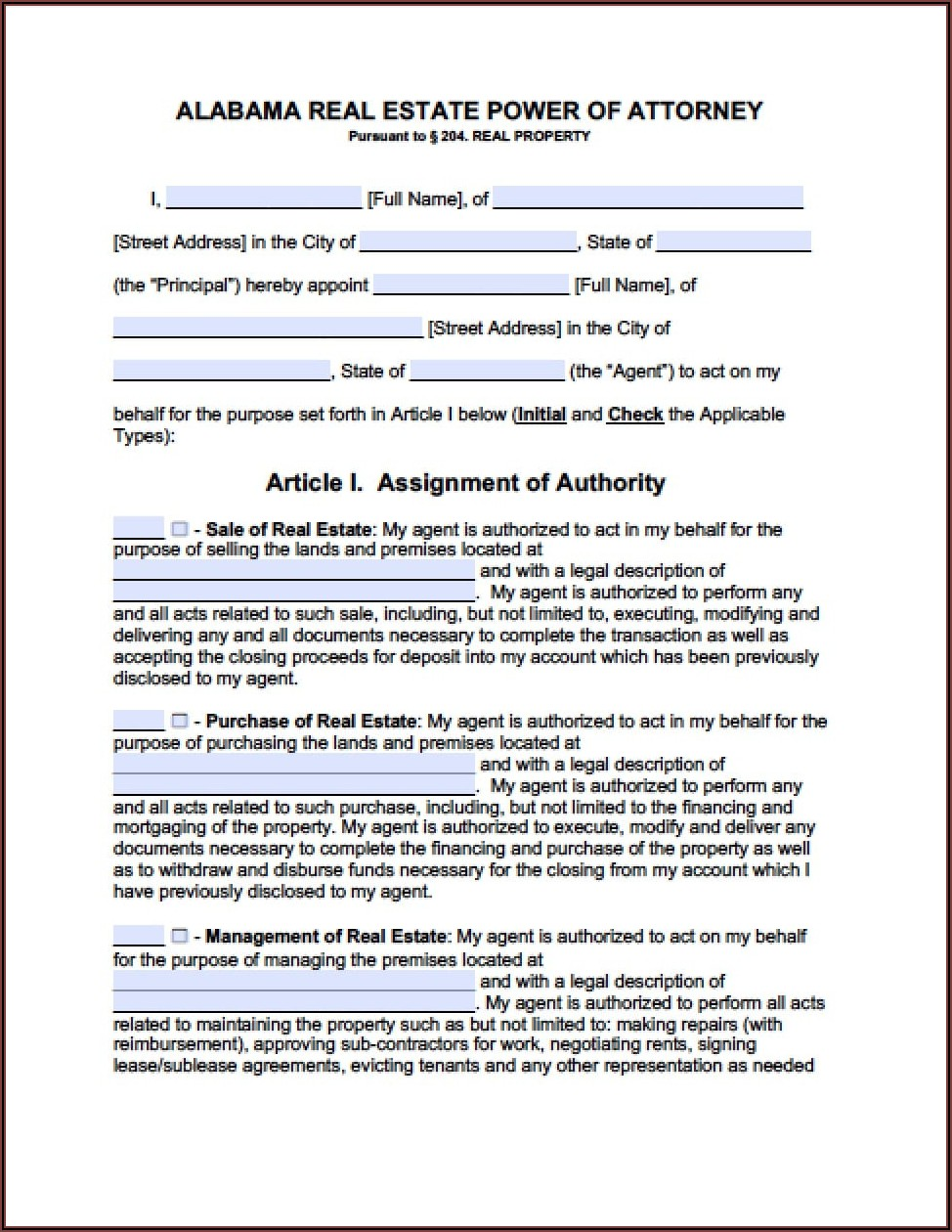 Power Of Attorney Form Real Estate Closing Texas