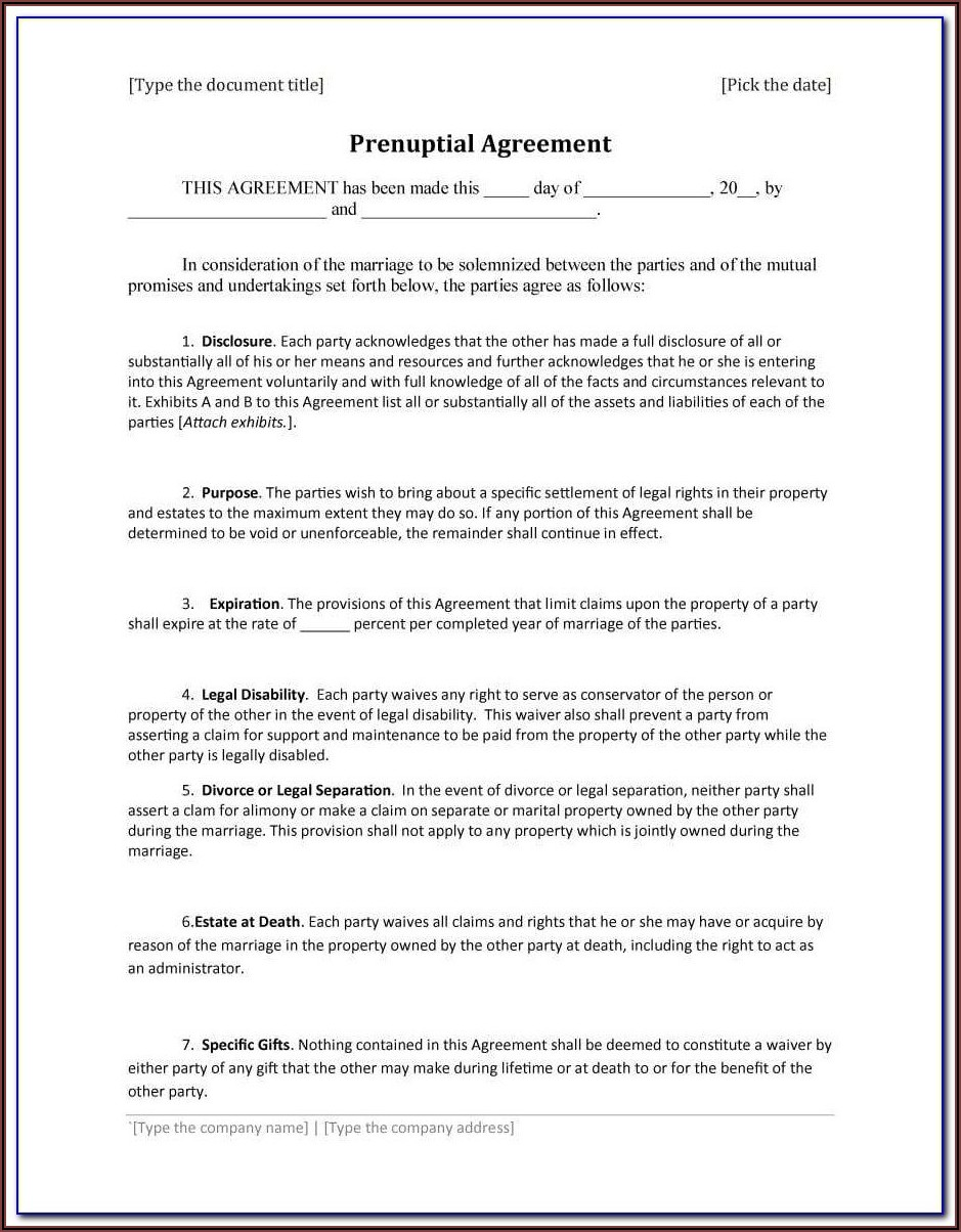 Prenuptial Agreement Form Legal Zoom