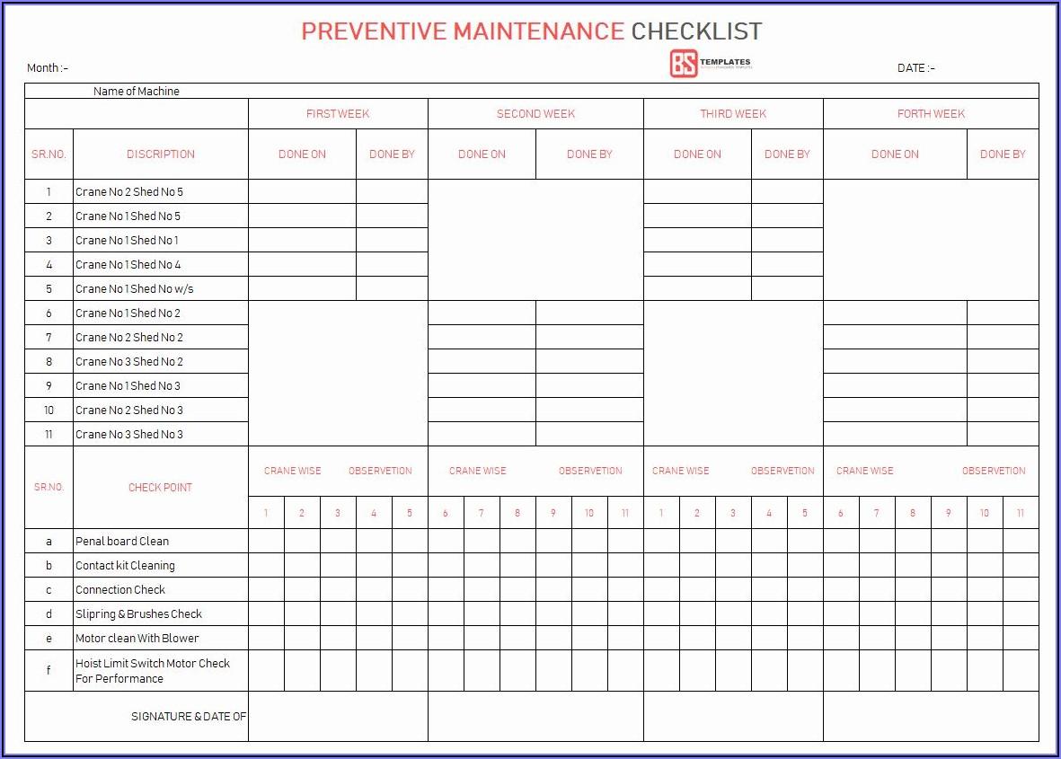 Preventive Maintenance Checklist Format Pdf