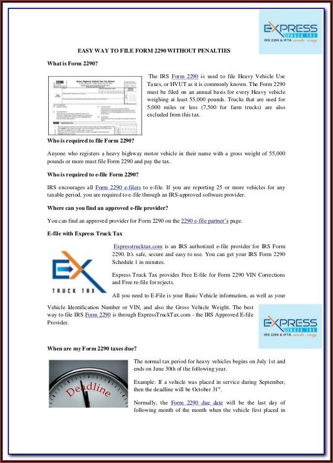 Print 2290 Tax Form