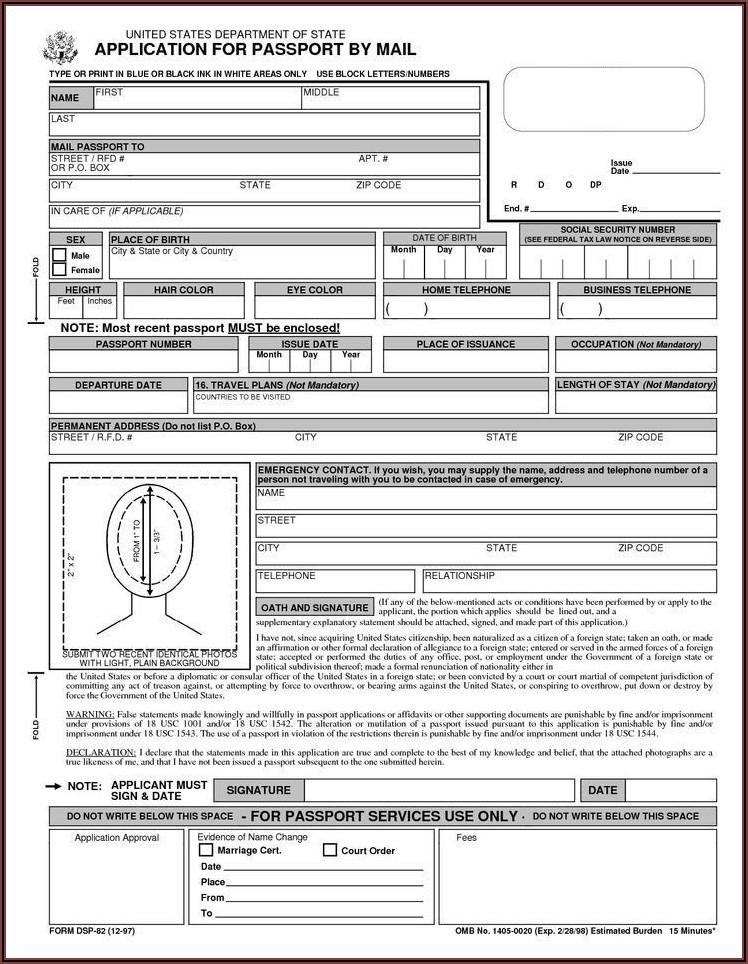 Print Form Ds 82 Passport Renewal