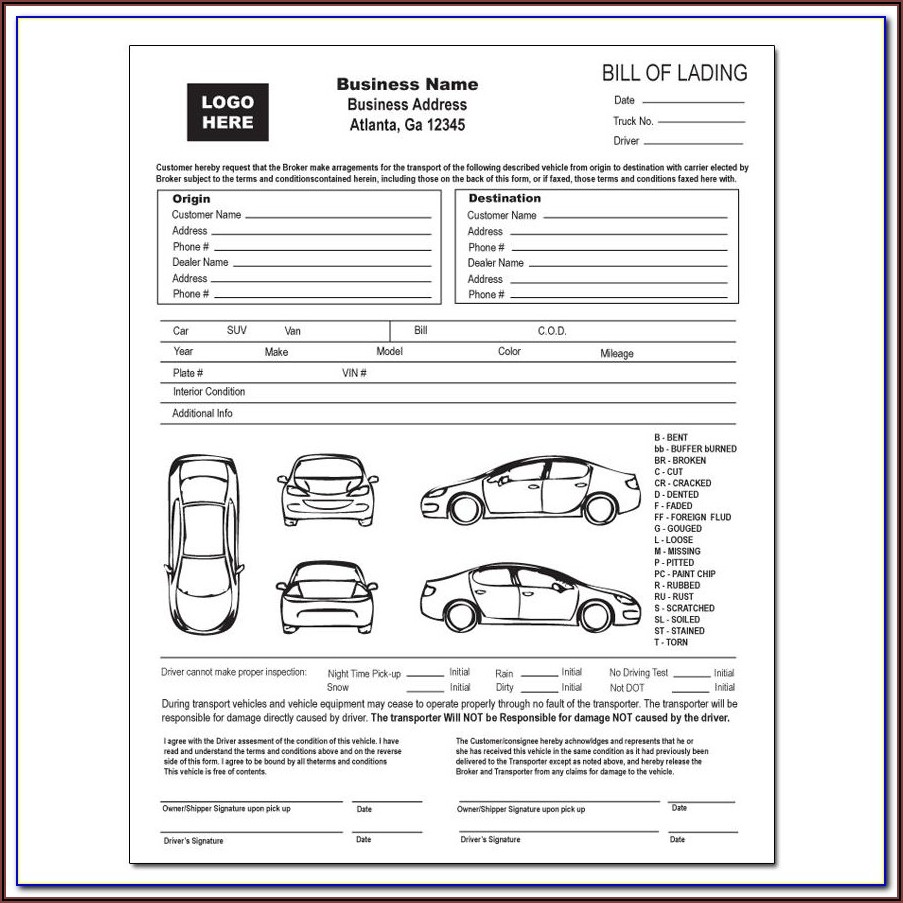 Printable Auto Transport Bill Of Lading Template Free