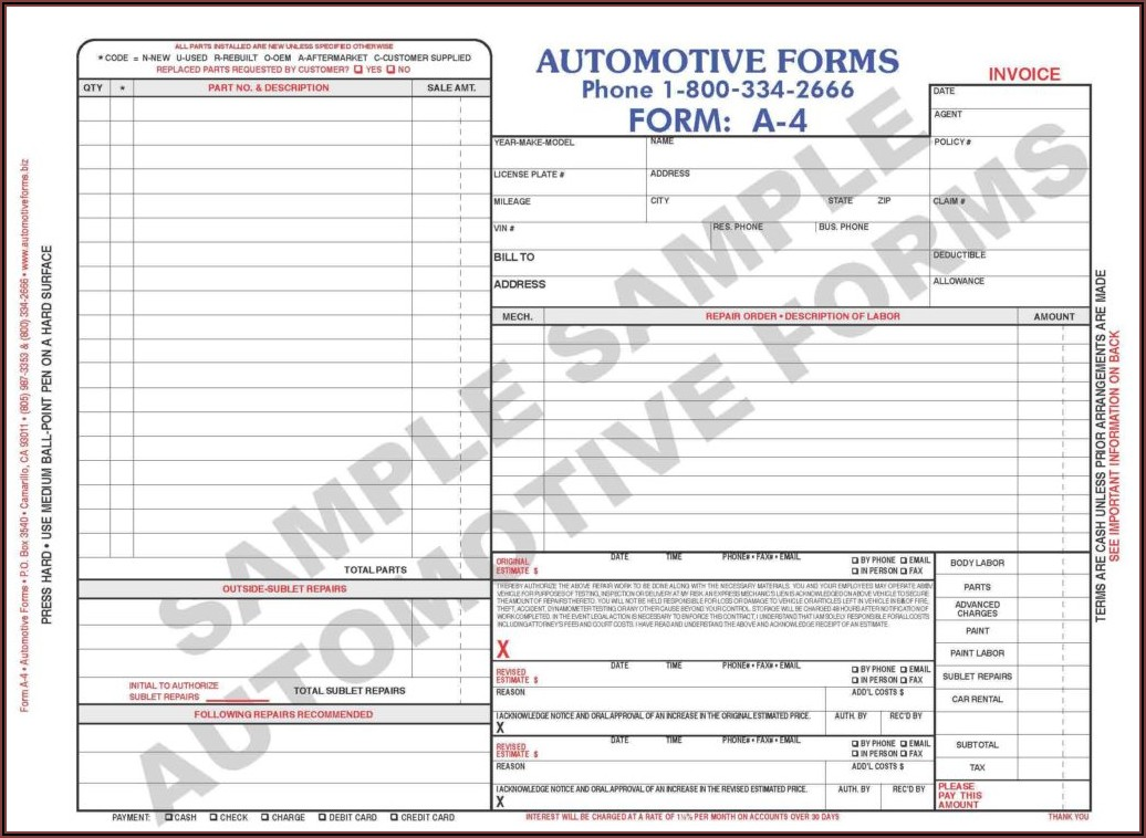Printable Body Shop Estimate Forms