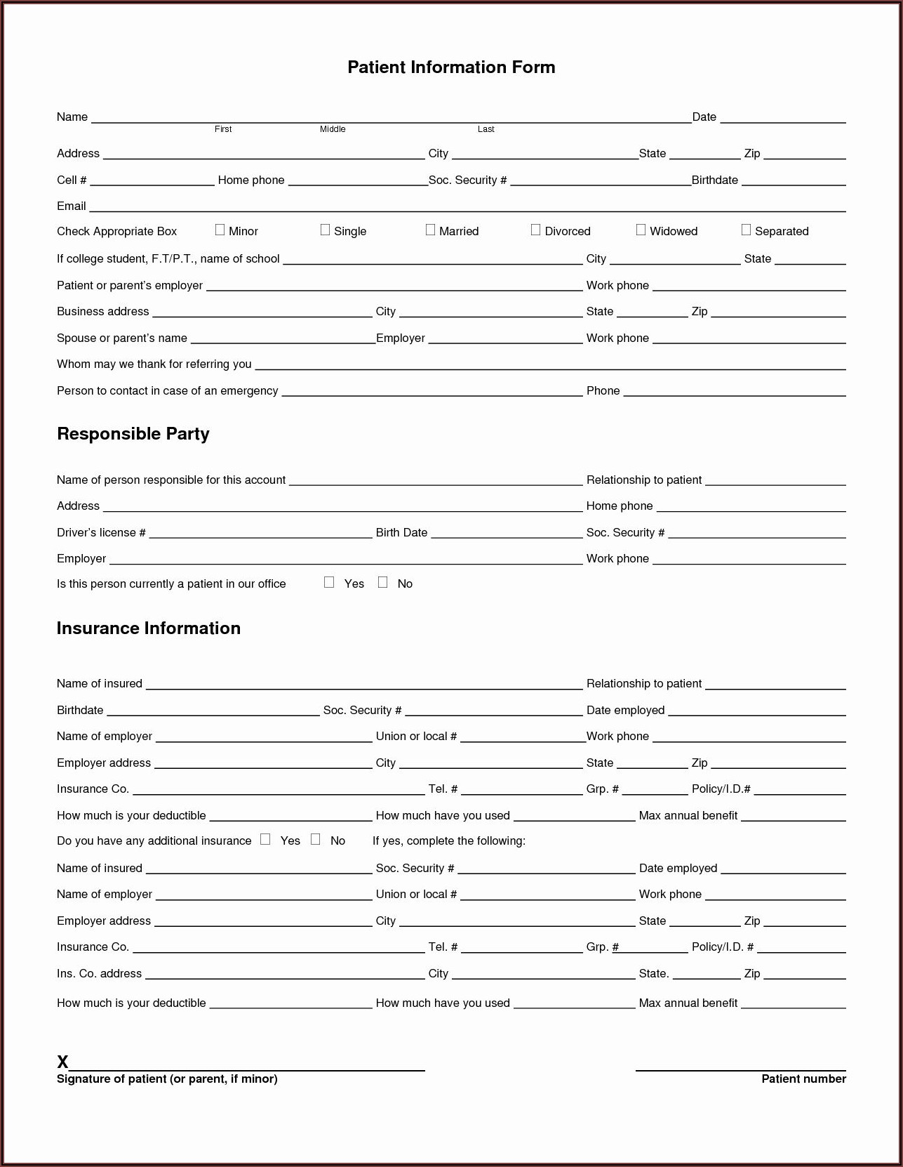 Printable Dental Registration Forms