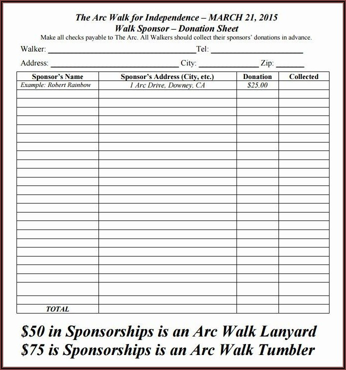 Printable Donation Form Template