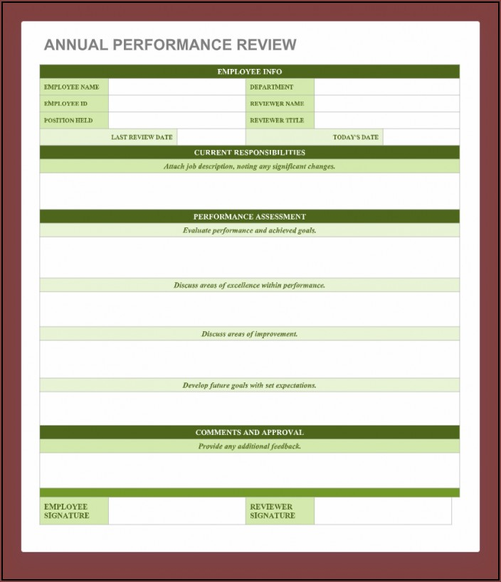 Printable Employee Performance Evaluation Form Free Download