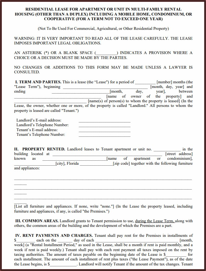 Printable Free Florida Residential Lease Agreement Forms To Print