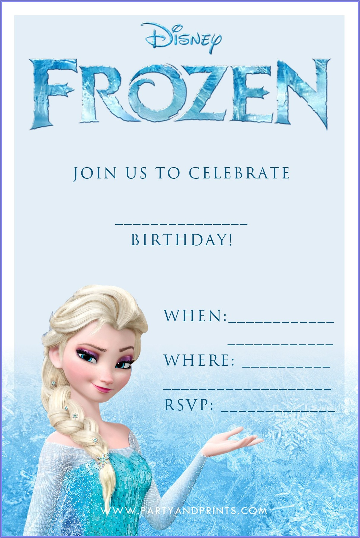 Printable Frozen Birthday Invitation Template