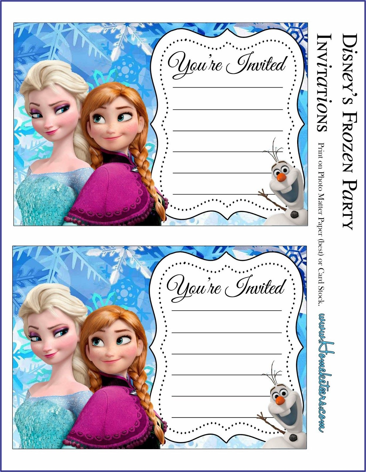 Printable Frozen Birthday Party Invitations