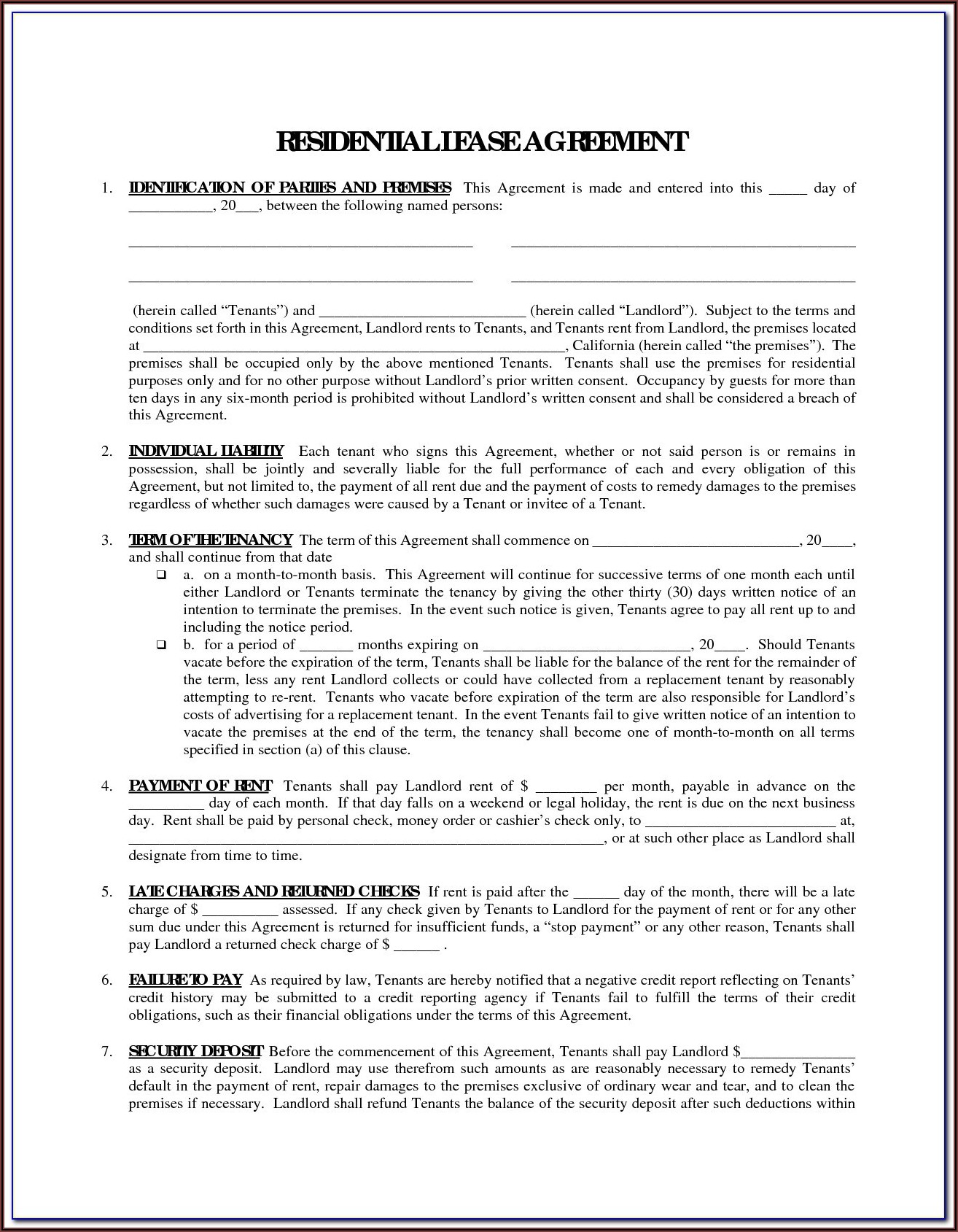 Printable Lease Forms