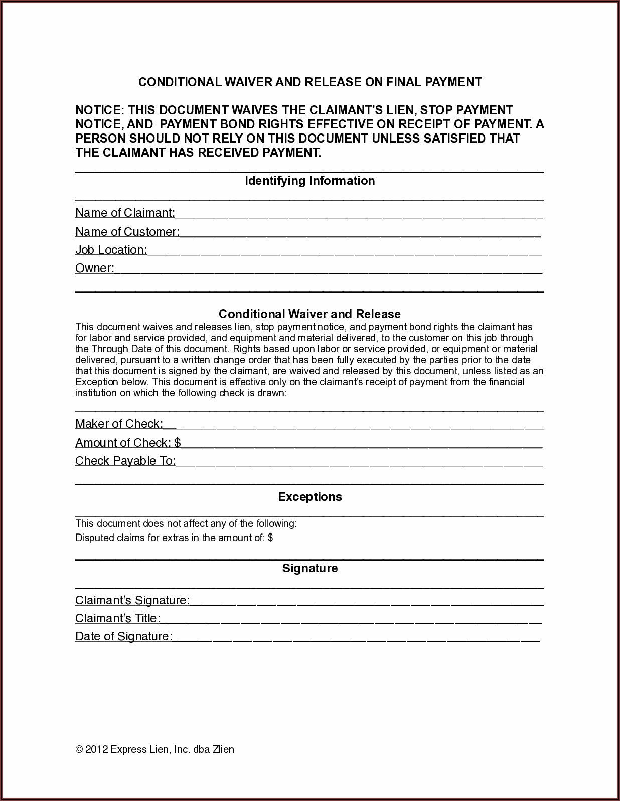 Printable Lien Waiver Form Mn