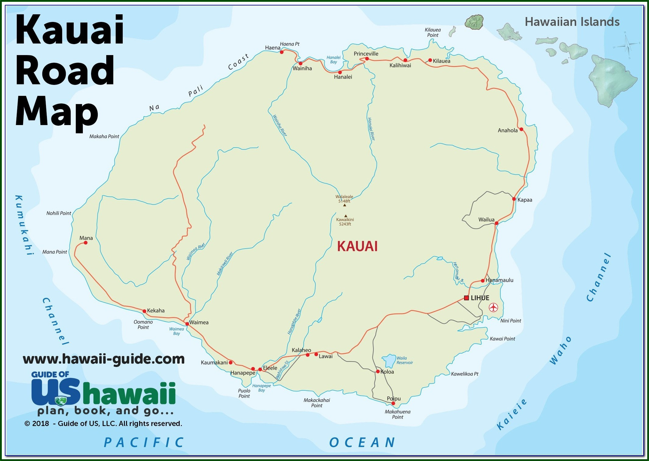 Printable Map Of Kauai