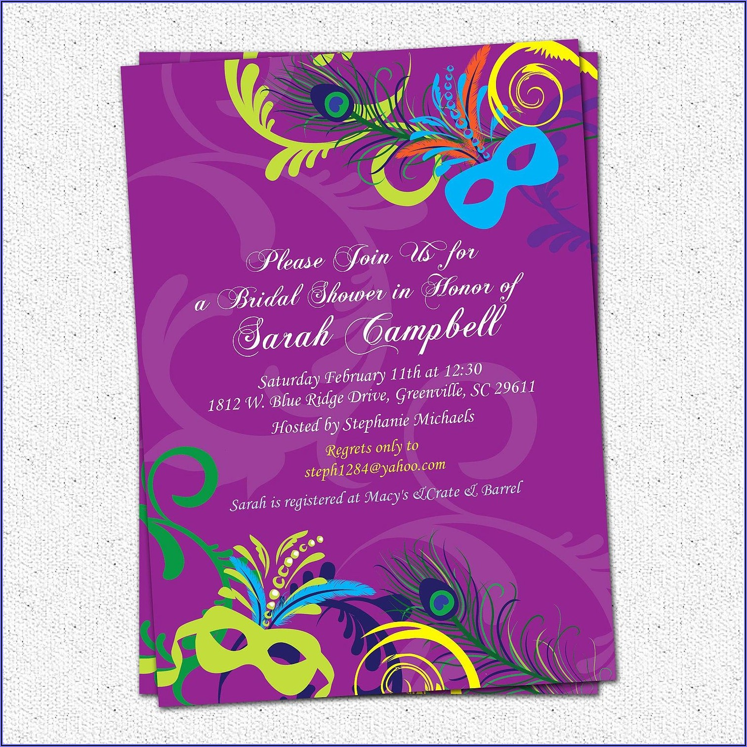 Printable Mardi Gras Invitation Template
