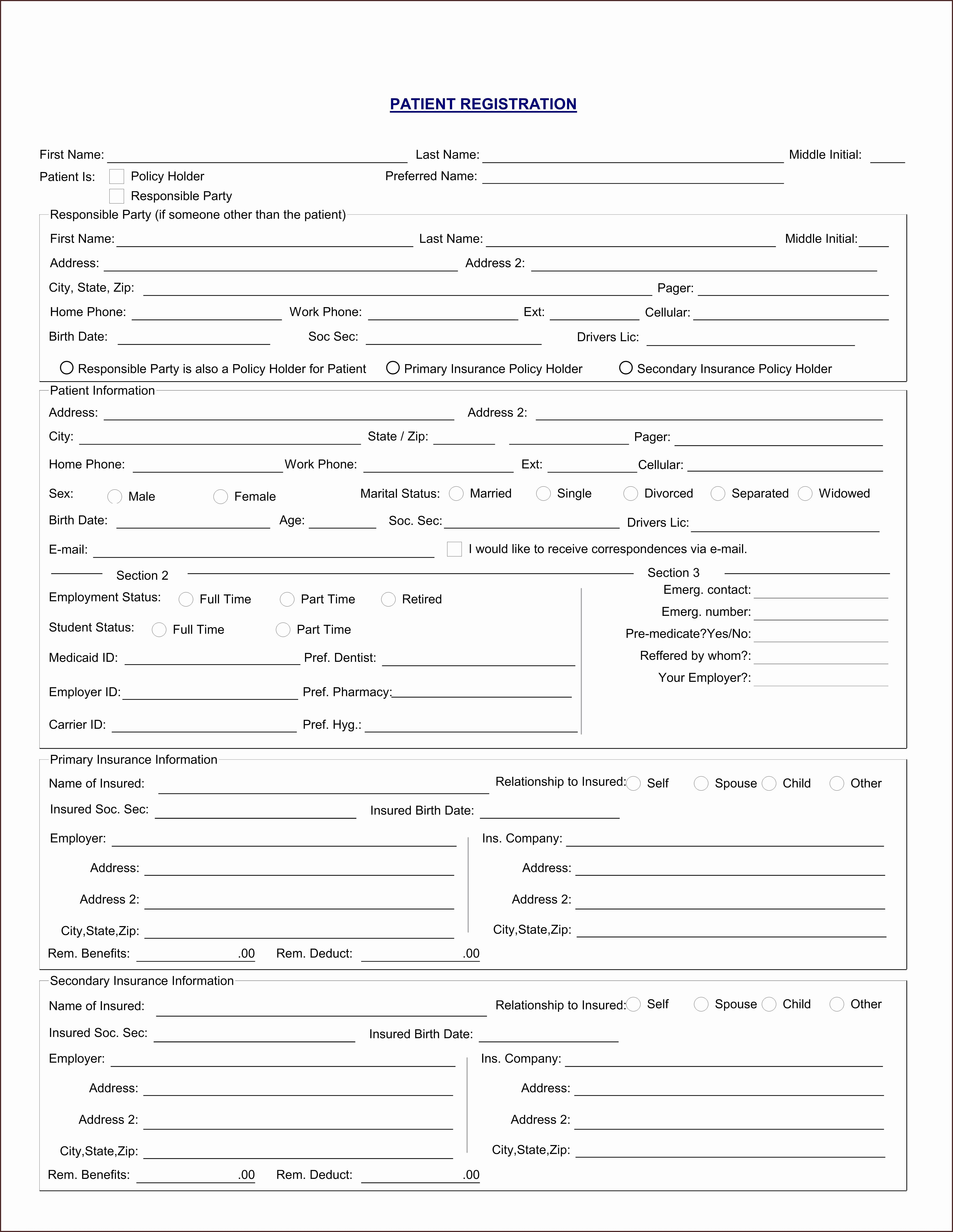 Printable Patient Registration Forms