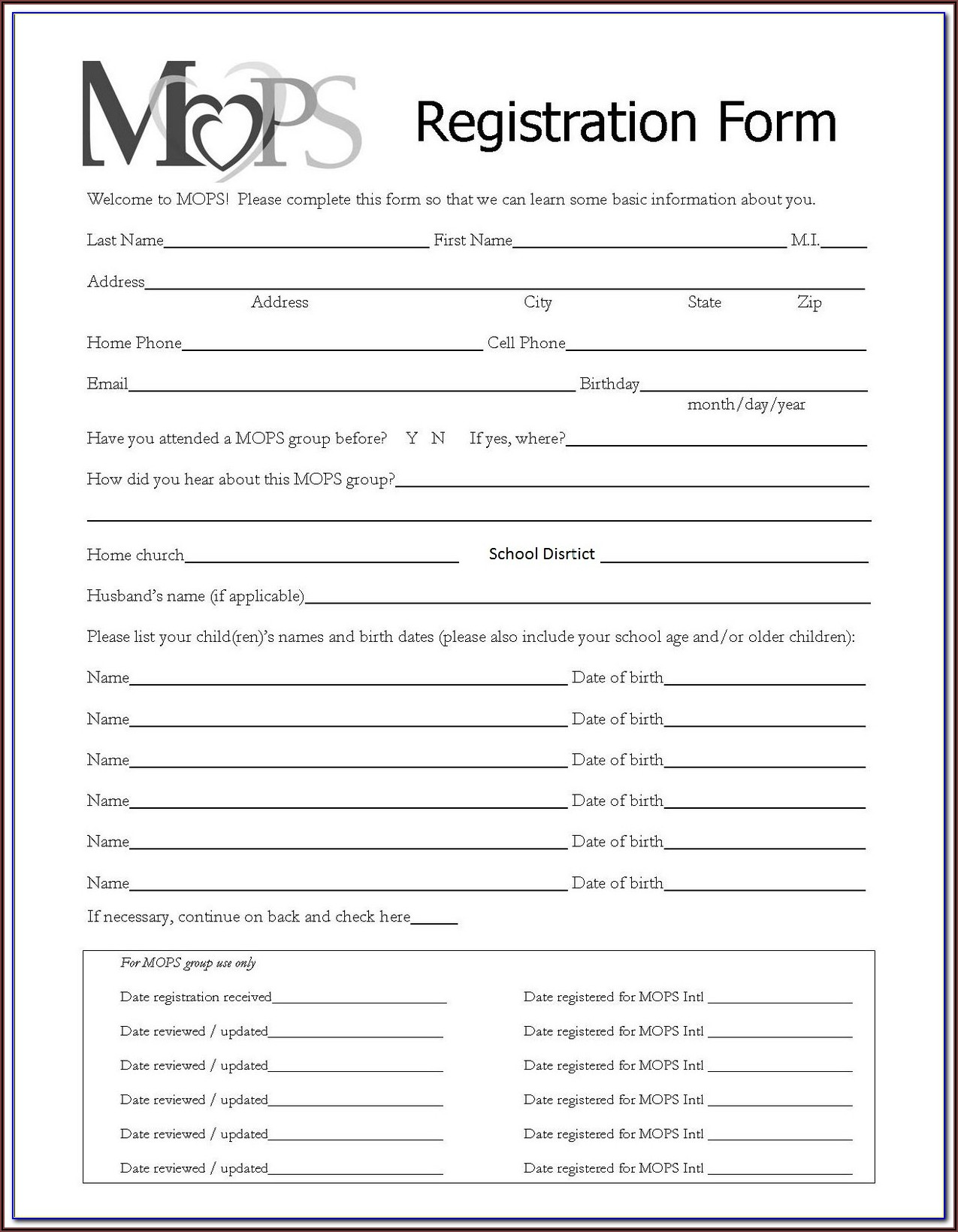 Printable Registration Forms For Daycare