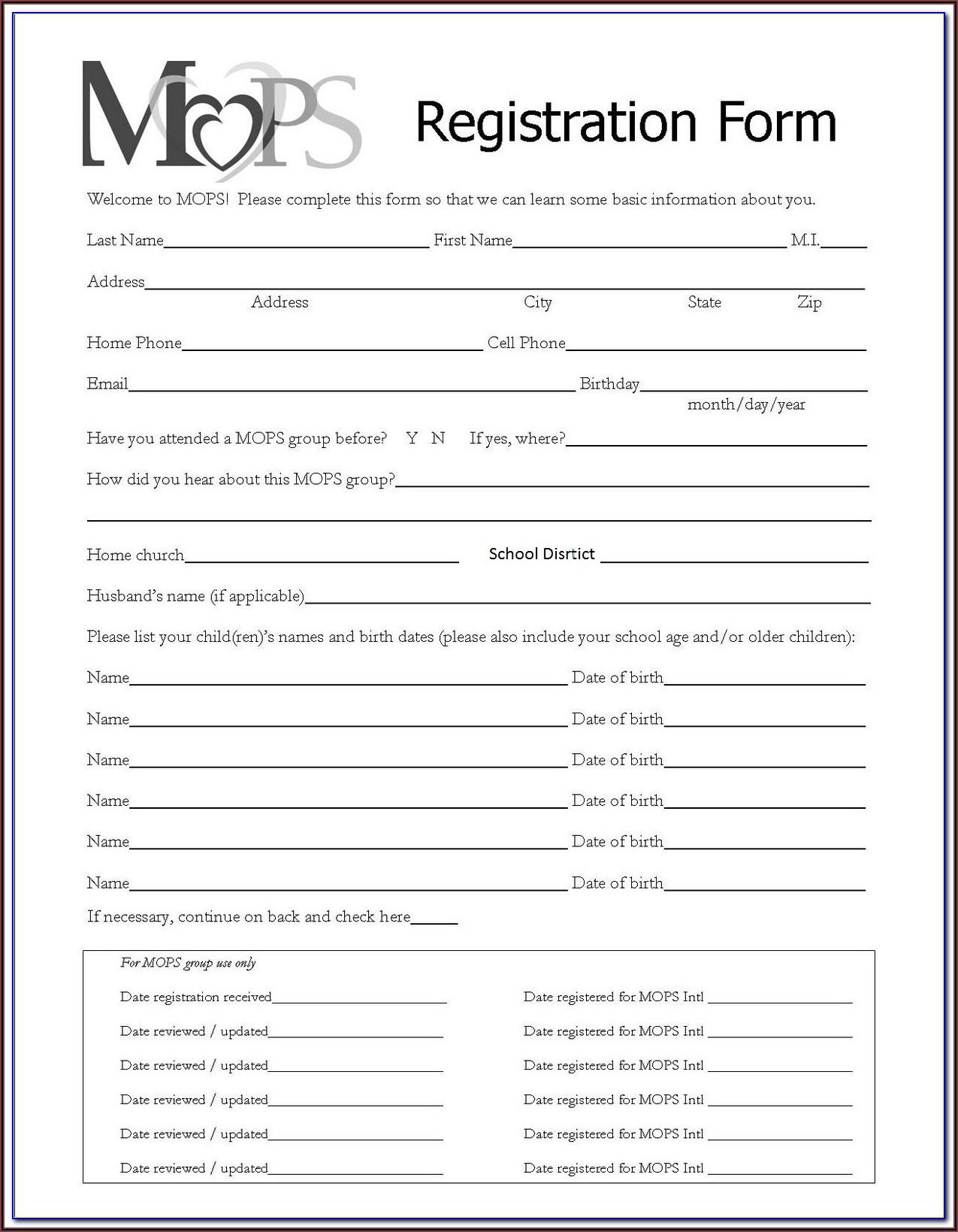 Printable Registration Forms For Daycare