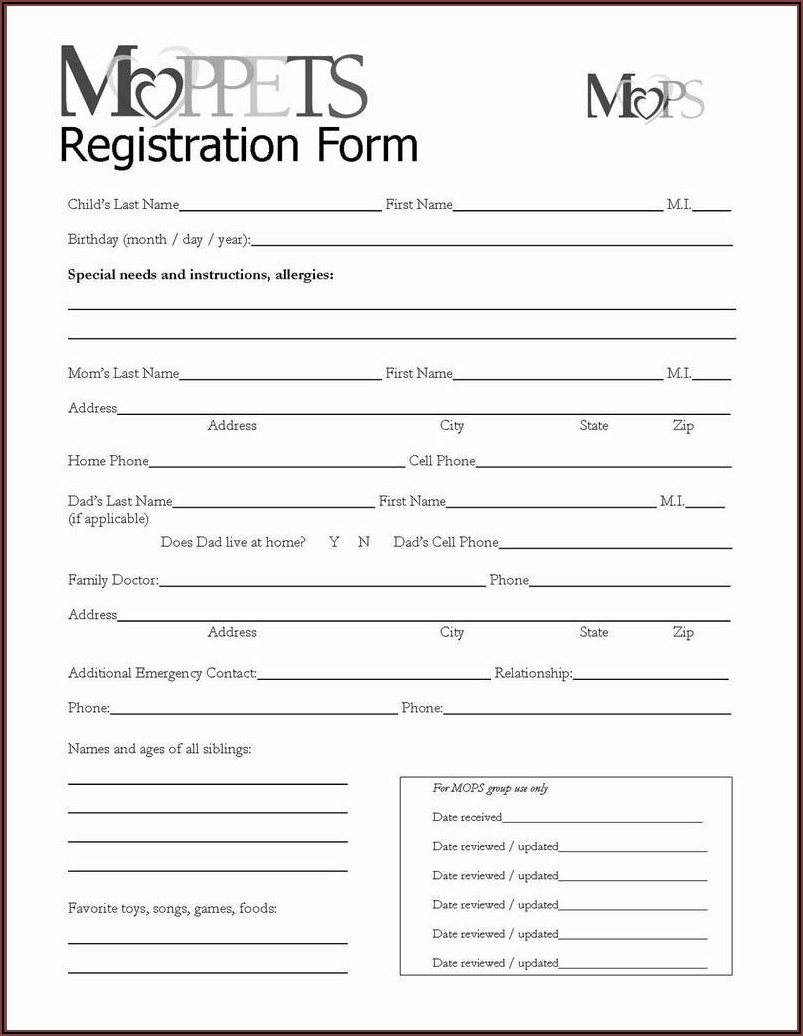 Printable Registration Forms