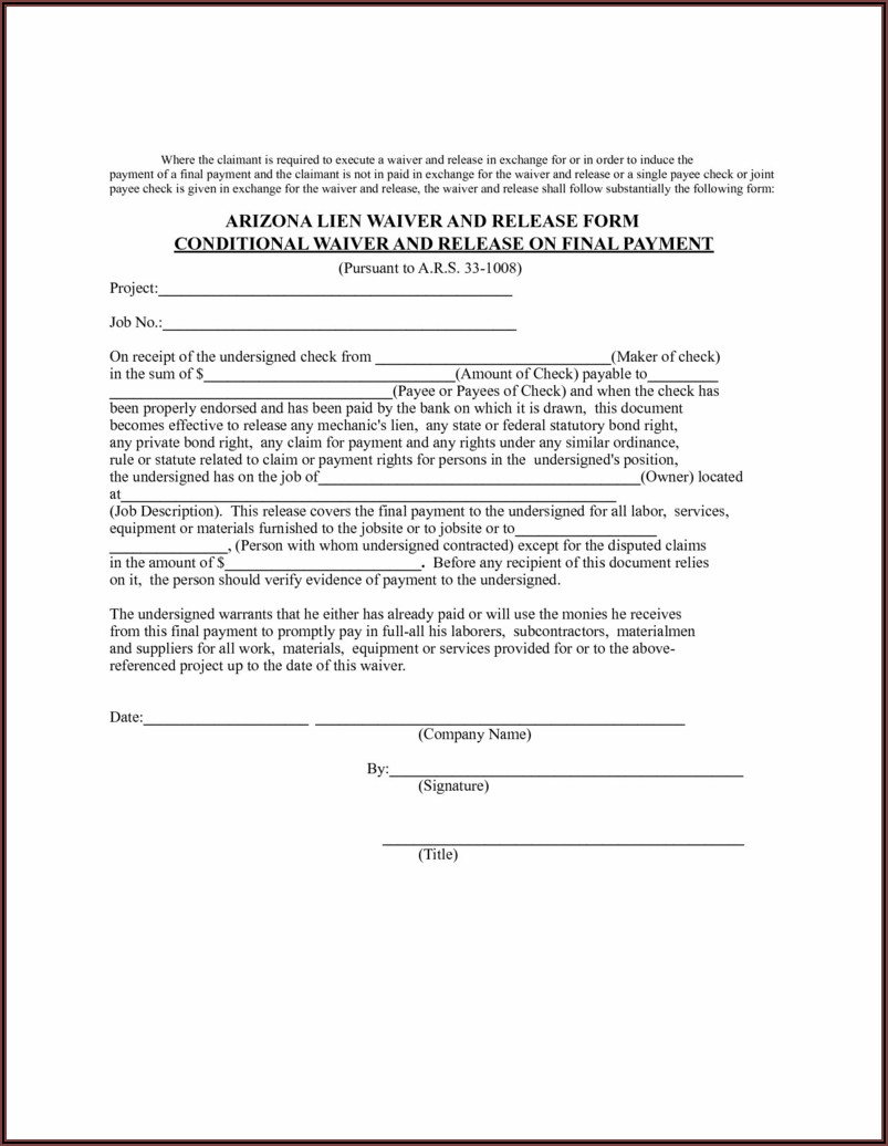 Printable Release Of Lien Form Florida