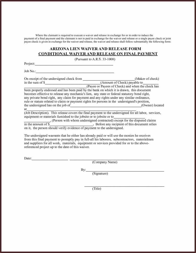 Printable Release Of Lien Form Florida
