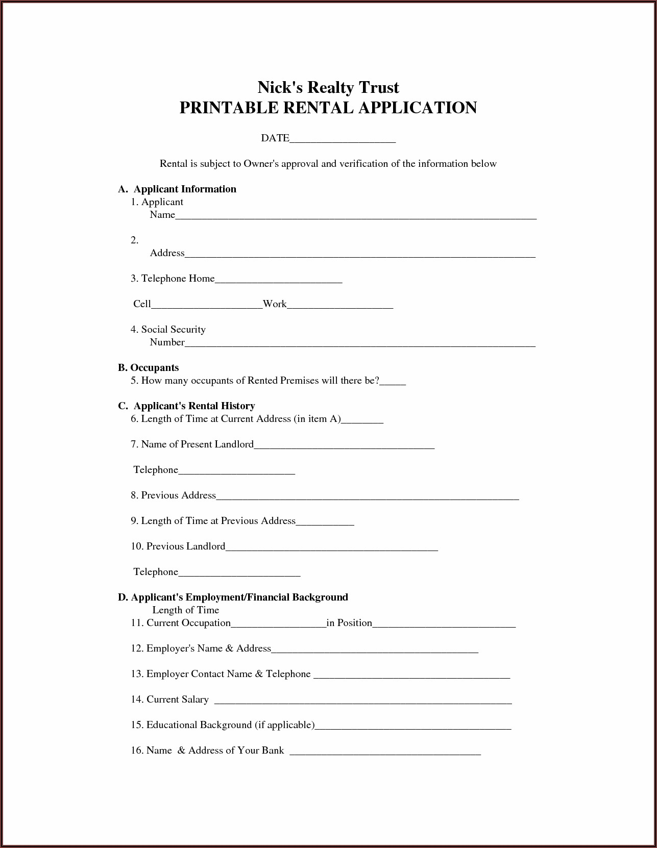 Printable Rental Agreement Forms