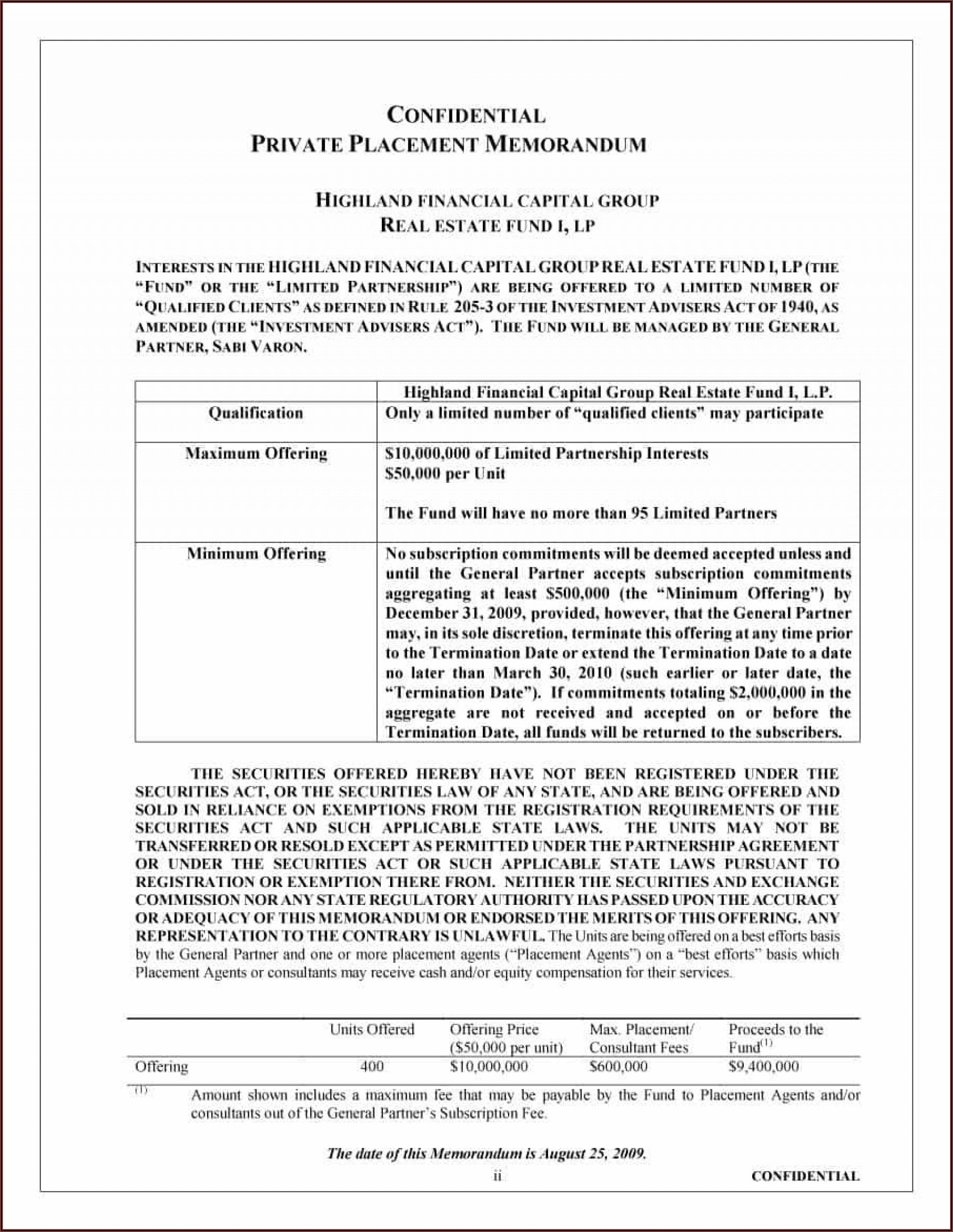 Private Placement Memorandum Sample Pdf