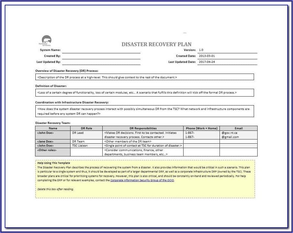 Production Disaster Recovery Plan Template