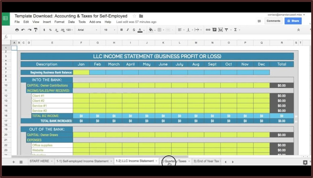 Profit And Loss Template For Self Employed Excel