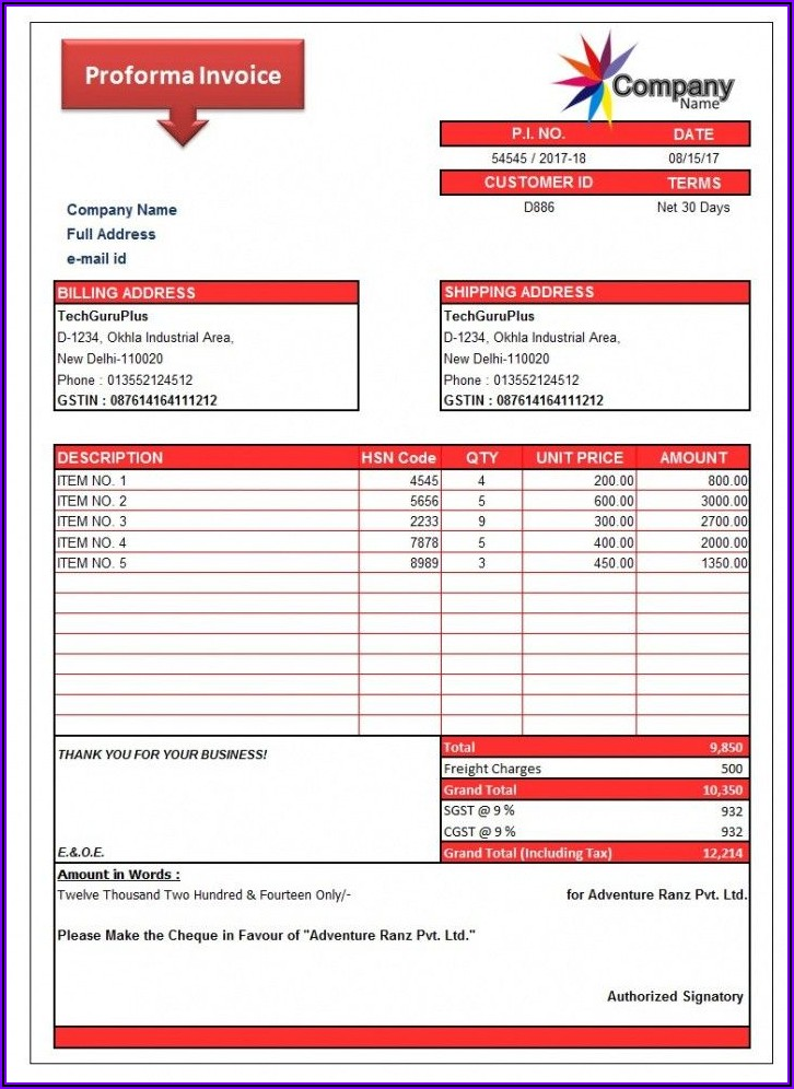Proforma Invoice Format In Word