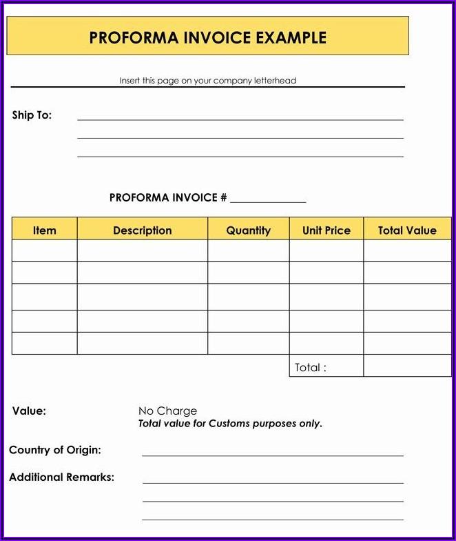 Proforma Invoice Samples